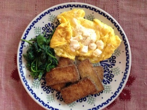 Herb Tofu, Eggs and Spinach